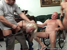 Rough gangbang with an old guy